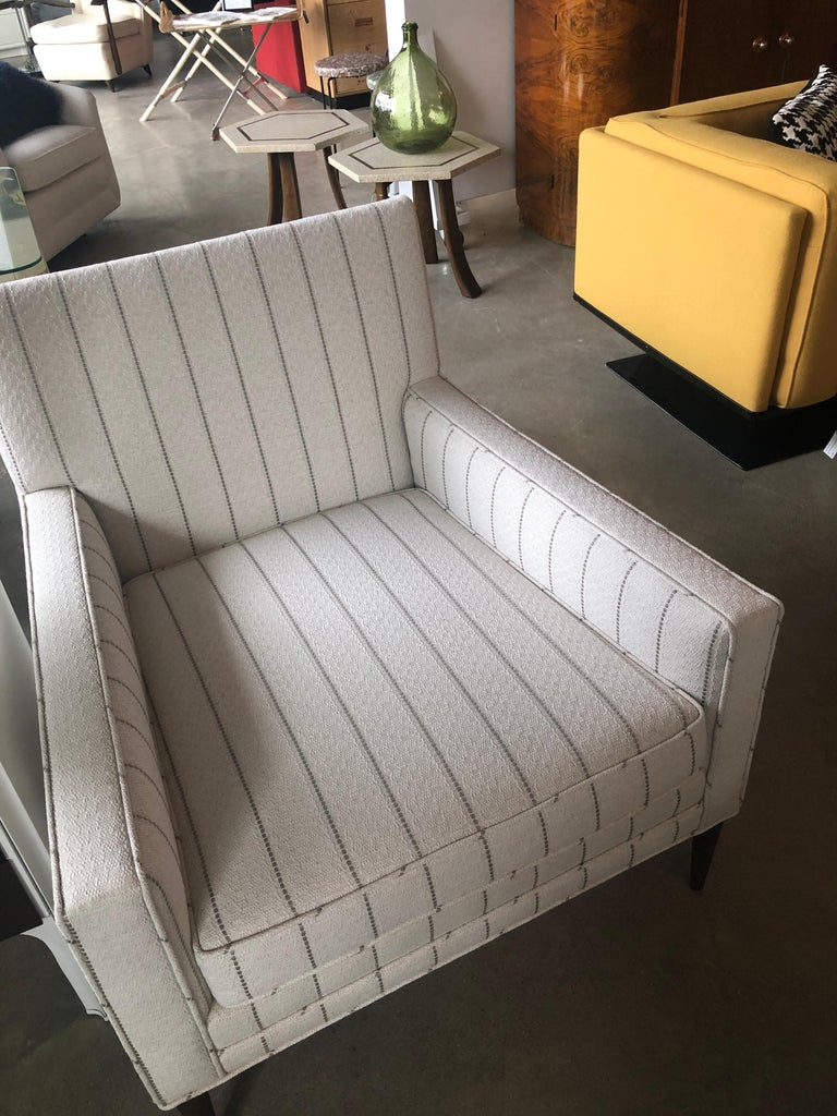 New White with Gray Stripe Upholstery Paul McCobb Arm or Lounge Chair with Stool For Sale 12