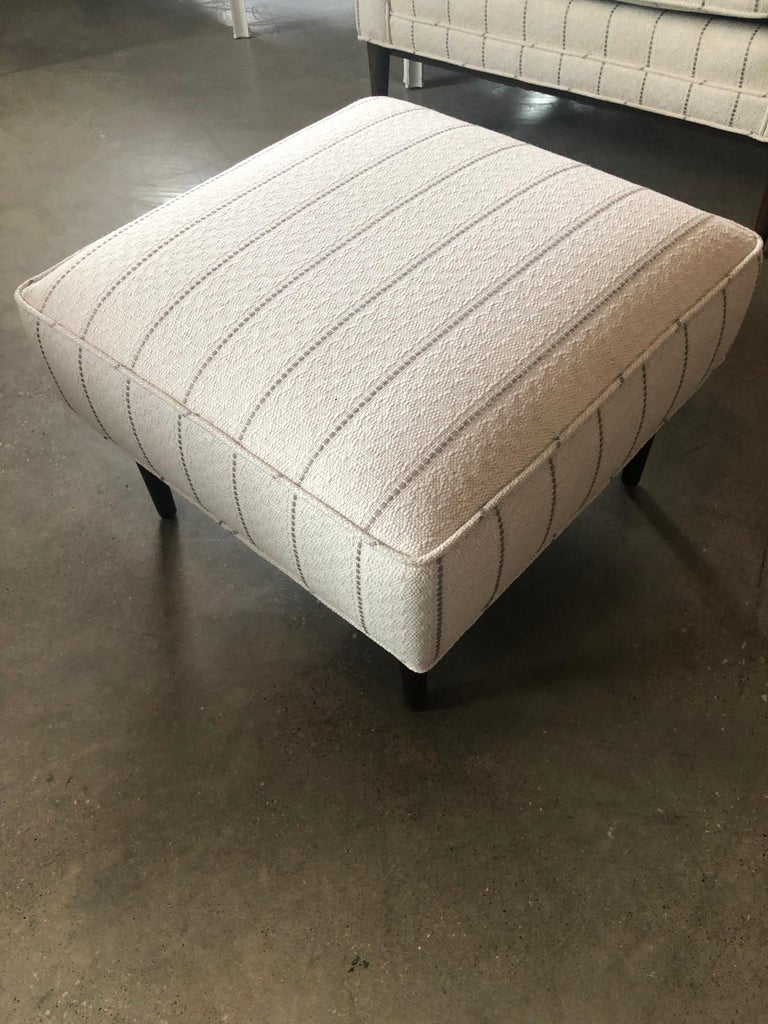 New White with Gray Stripe Upholstery Paul McCobb Arm or Lounge Chair with Stool For Sale 9