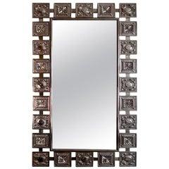 Mid-Century Modern Nickeled Silver Wall Mirror