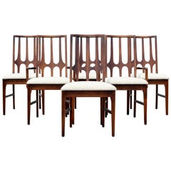 Mid-Century Modern Niemeyer Broyhill Brasilia Set Six Dining Chairs Side Arm