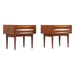 Mid-Century Modern Nightstands with Lacquered Bowtie Style Drawers