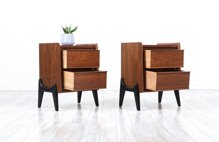 American Mid-Century Modern Night Stands with Sculpted Bases