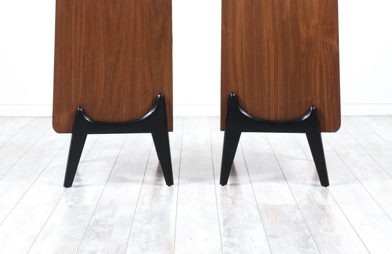 Mid-20th Century Mid-Century Modern Night Stands with Sculpted Bases