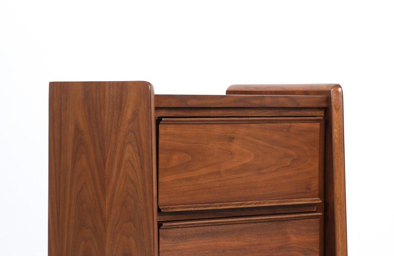Walnut Mid-Century Modern Night Stands with Sculpted Bases