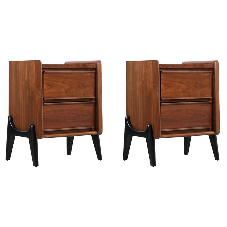 Mid-Century Modern Night Stands with Sculpted Bases