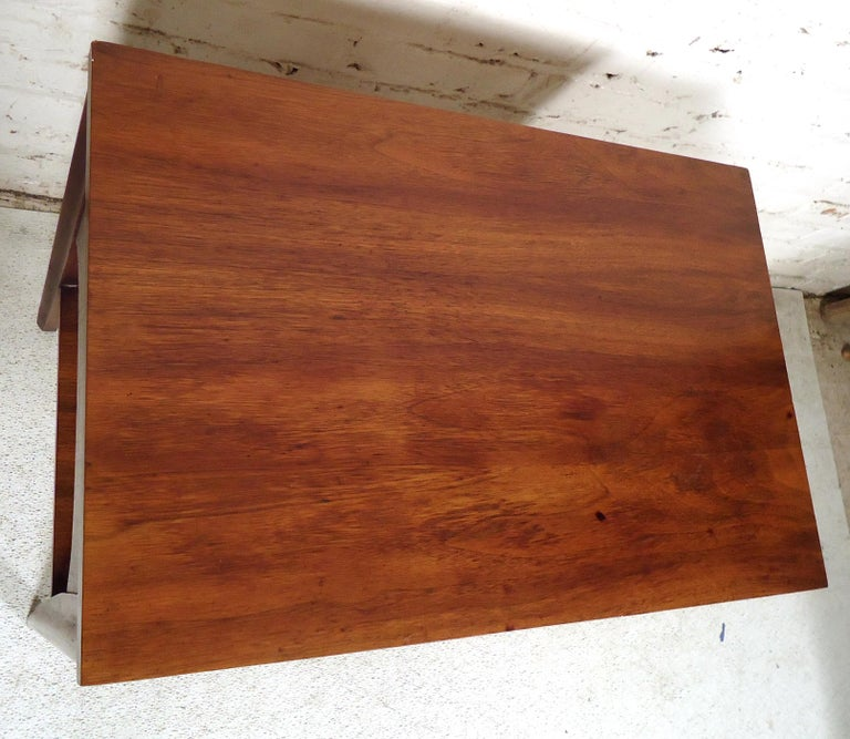 Walnut Mid-Century Modern Nightstand For Sale
