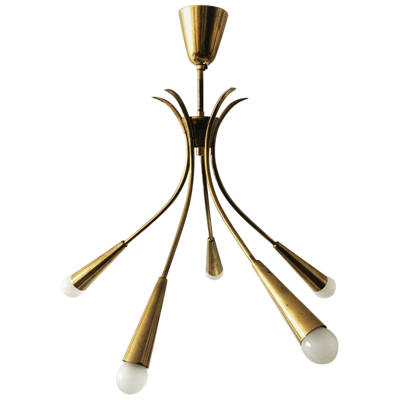 Mid-Century Modern Nikoll Brass Chandelier, Austria, 1950s