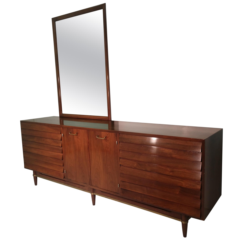 Mid-Century Modern Nine Drawer Walnut Dresser with Mirror by Merton Gershun