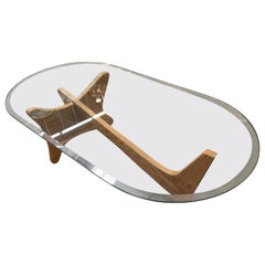 Mid-Century Modern Noguchi Style Oval Glass Coffee Table