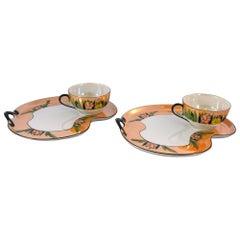 Mid-Century Modern Noritaki Luncheon Plate Set Hand Painted