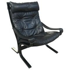 Mid-Century Modern Norwegian Black Leather Siesta Chair by Ingmar Relling, 1960s