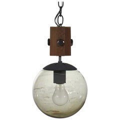 Mid-Century Modern NOS Wood and Smoked Glass Globe Pendant Light Black Chain