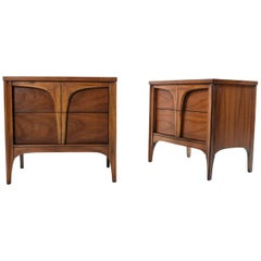 Mid-Century Modern Oak and Walnut Nightstand End Tables by Style House