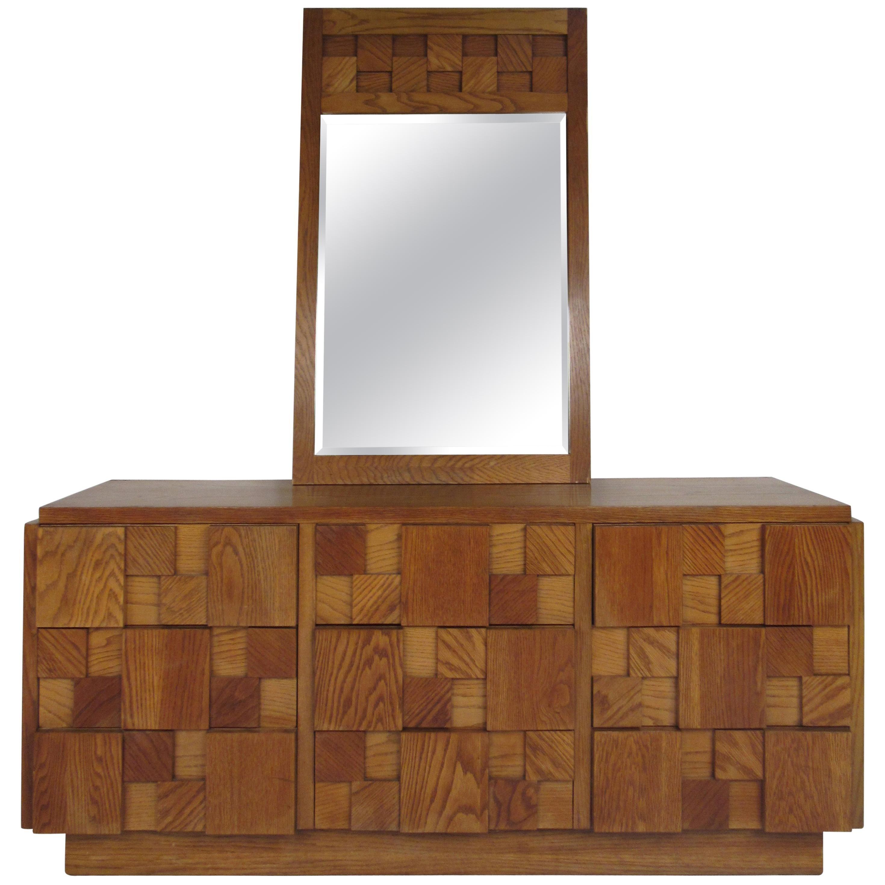 Mid-Century Modern Oak Brutalist Dresser by Lane Furniture