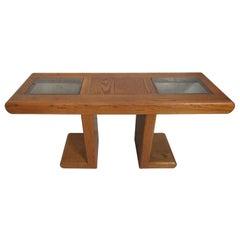 Mid-Century Modern Oak Console Table