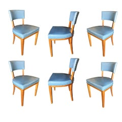 Mid-Century Modern Oak Dining Chairs, Set of Six
