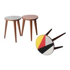 Mid-Century Modern Oak Melamine Multicolored Side Tables, Czech Republic, 1960