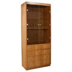 Mid-Century Modern Oak Veneer Display Cabinet Smoked Glass Doors and Brass Pulls