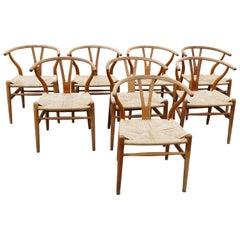 Mid-Century Modern Oak Wishbone Chairs by Hans Wegner