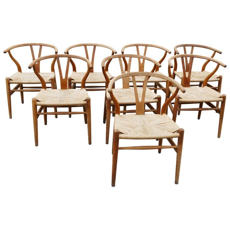 Mid-Century Modern Oak Wishbone Chairs by Hans Wegner For Sale