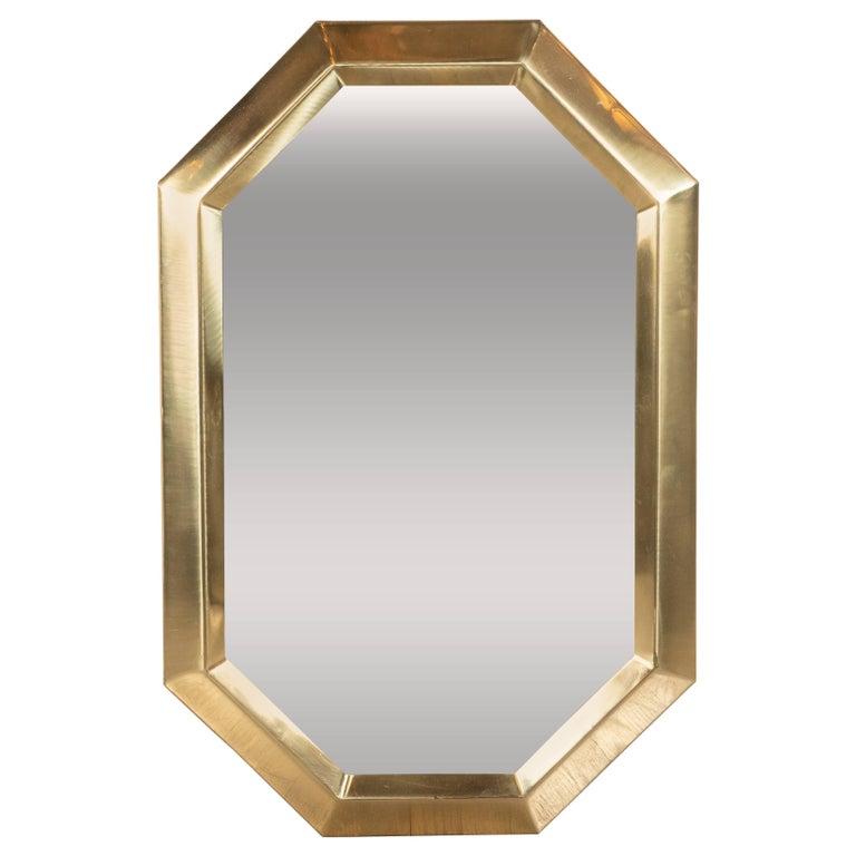 Mid-Century Modern Octagonal Beveled Brass Mirror