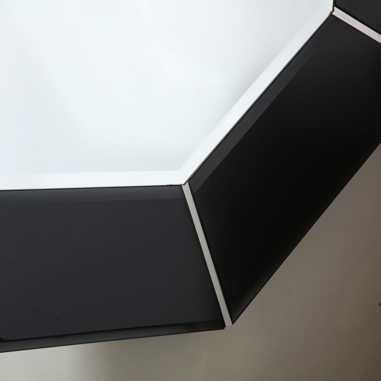 Mid-Century Modern Octagonal Beveled Smoked Mirror with Brushed Aluminum Inserts In Good Condition For Sale In New York, NY