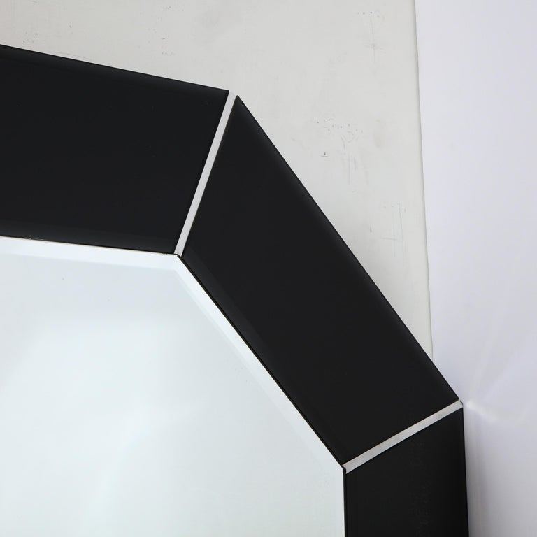 Late 20th Century Mid-Century Modern Octagonal Beveled Smoked Mirror with Brushed Aluminum Inserts For Sale