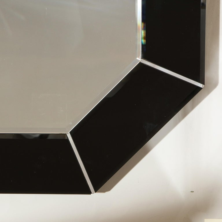 Mid-Century Modern Octagonal Beveled Smoked Mirror with Brushed Aluminum Inserts For Sale 1