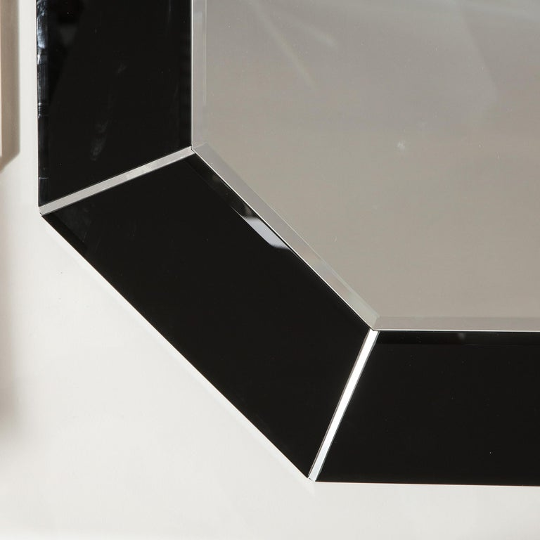 Mid-Century Modern Octagonal Beveled Smoked Mirror with Brushed Aluminum Inserts For Sale 2