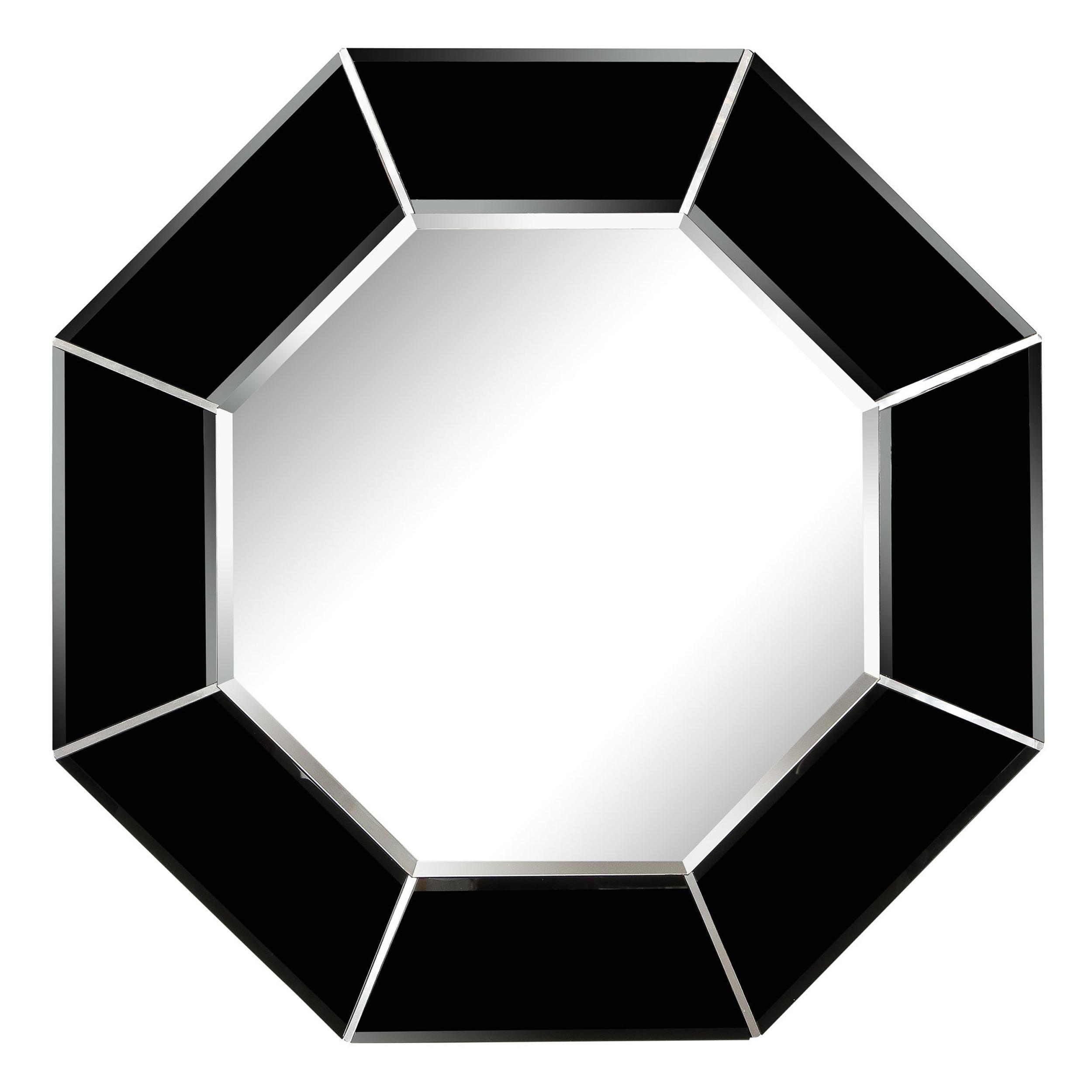 Mid-Century Modern Octagonal Beveled Smoked Mirror with Brushed Aluminum Inserts