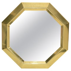 Mid-Century Modern Octagonal Brass Wall Mirror, Italy, 1970
