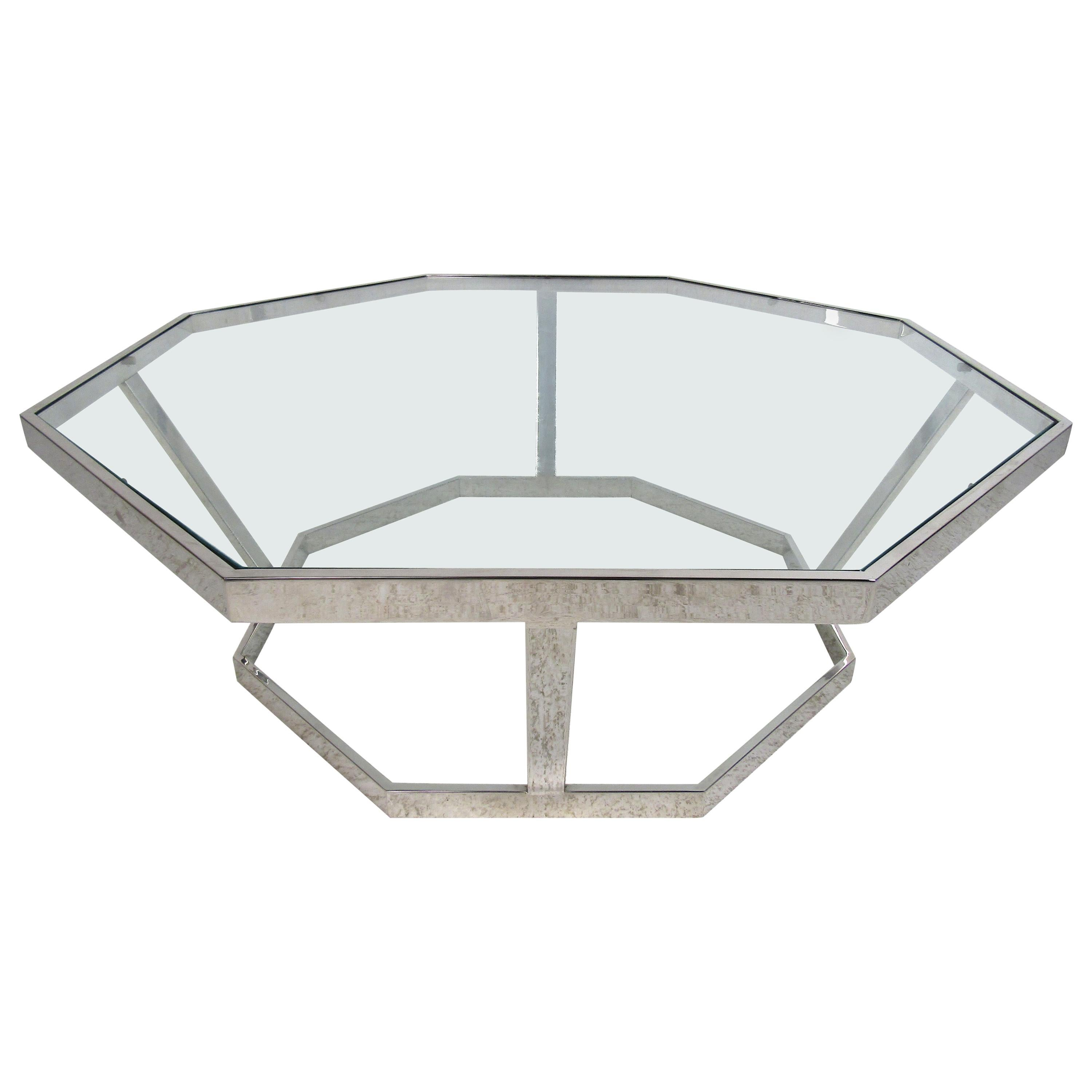 Mid-Century Modern Octagonal Chrome and Glass Coffee Table