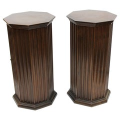 Mid-Century Modern Octagonal Fluted Mahogany Pedestals with Doors and Shelves