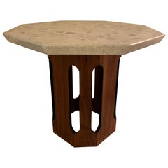 Mid-Century Modern Octagonal Table in Walnut & Terrazzo by Harvey Probber