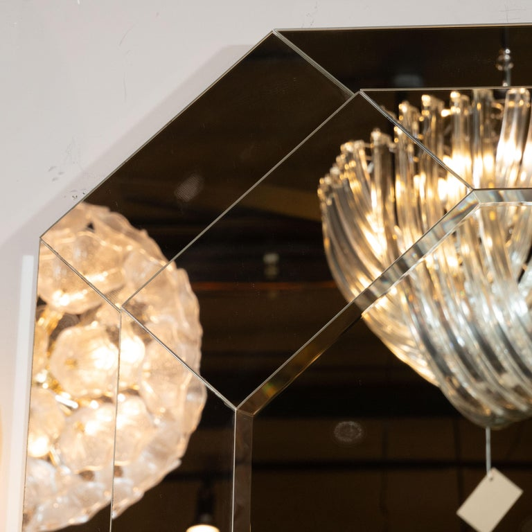 Mid-Century Modern Octagonal Three-Tiered Stepped and Beveled Mirror In Excellent Condition For Sale In New York, NY