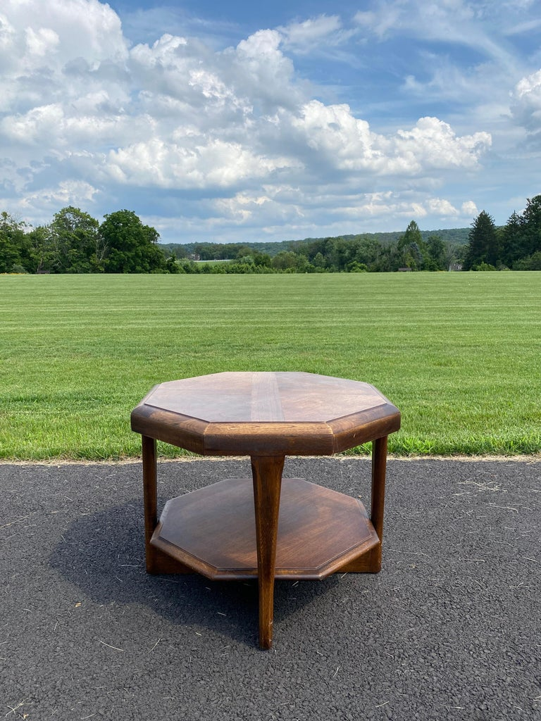 Mid-Century Modern Octagonal Two Tiered Side End Table Adrian Pearsall for Lane In Good Condition For Sale In Lambertville, NJ