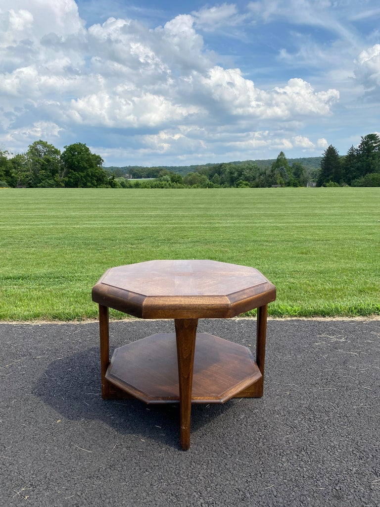 Late 20th Century Mid-Century Modern Octagonal Two Tiered Side End Table Adrian Pearsall for Lane For Sale