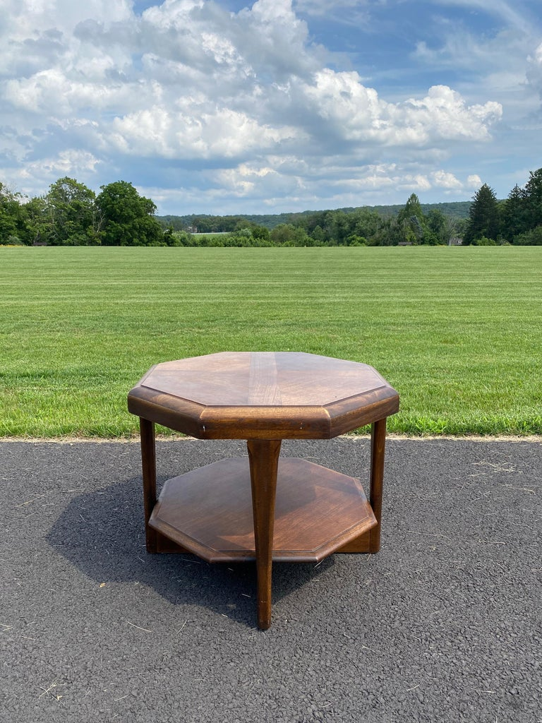 Wood Mid-Century Modern Octagonal Two Tiered Side End Table Adrian Pearsall for Lane For Sale