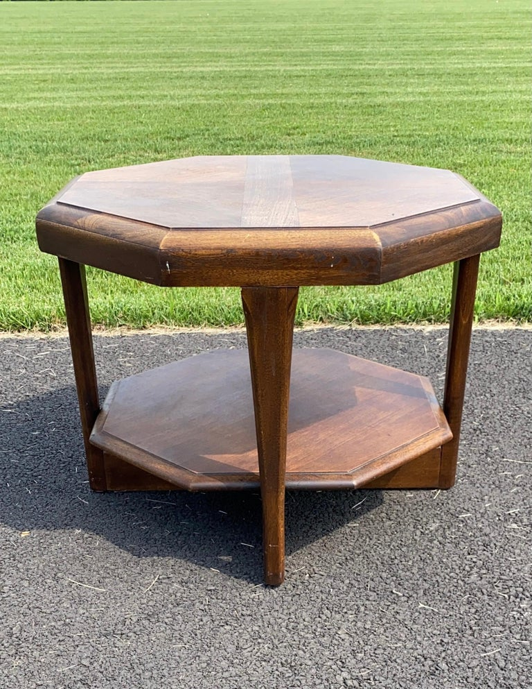 Mid-Century Modern Octagonal Two Tiered Side End Table Adrian Pearsall for Lane For Sale 1