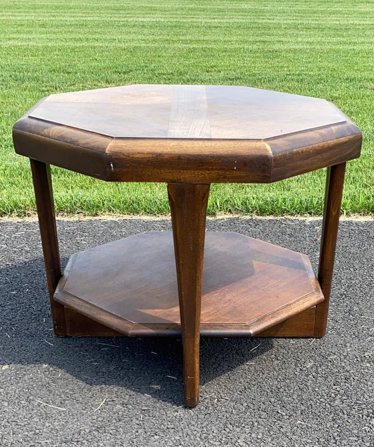 Mid-Century Modern Octagonal Two Tiered Side End Table Adrian Pearsall for Lane For Sale 2