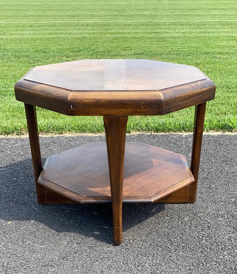 Mid-Century Modern Octagonal Two Tiered Side End Table Adrian Pearsall for Lane For Sale 3