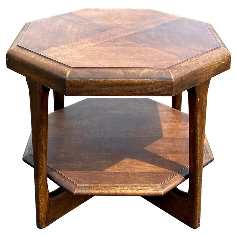 Mid-Century Modern Octagonal Two Tiered Side End Table Adrian Pearsall for Lane For Sale