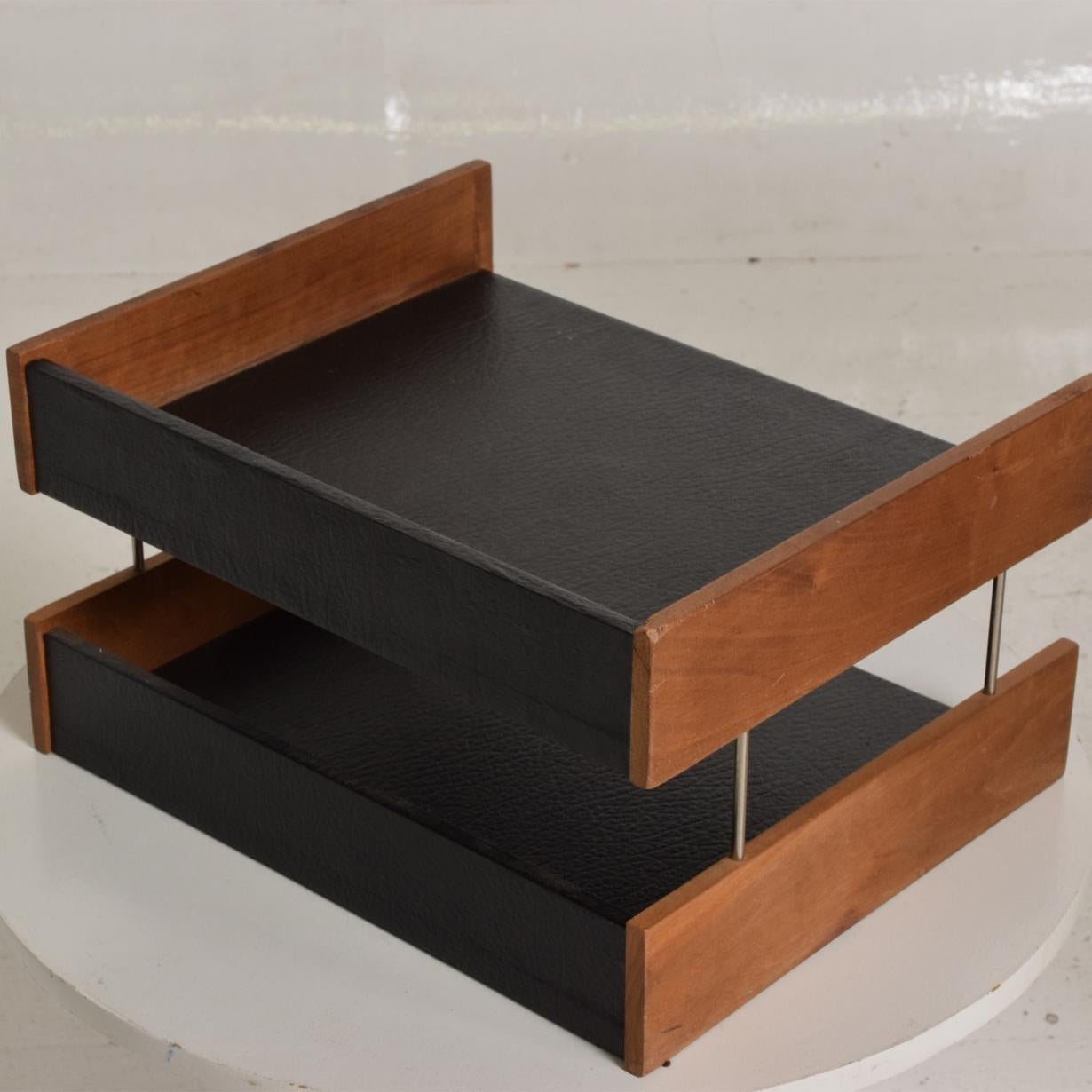 Mid Century Modern Office Desk Accessory Teak Wood B Faux Leather Service Tray For Sale At 1stdibs