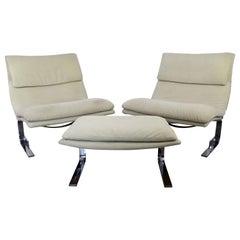 Mid-Century Modern Offredi Saporiti Pair Onda Wave Lounge Chairs & Ottoman 1970s
