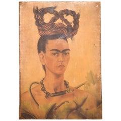 "Mid-Century Modern Oil Canvas Painting ""Frida Kahlo"" Portrait"