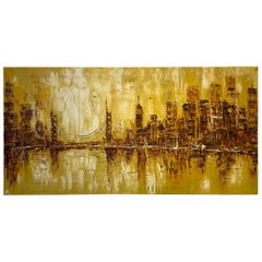 Mid-Century Modern Oil on Canvas Abstract Cityscape Painting Palette