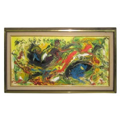 Mid-Century Modern Oil on Canvas Abstract Painting