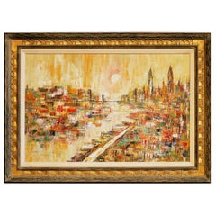 Mid-Century Modern Oil on Canvas Cityscape by M. Dick