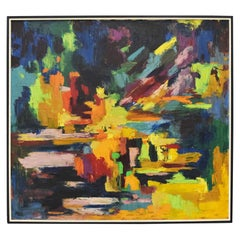 Mid-Century Modern Oil on Canvas in Vibrant Blues, Yellow, Greens, Dated 1967