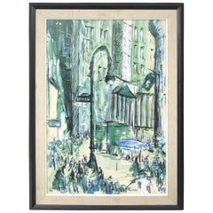 Mid-Century Modern Oil on Canvas of Downtown Manhattan NYC Wall Street